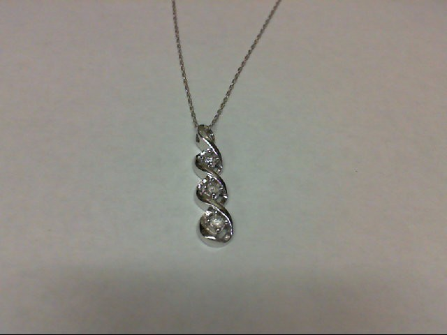 Gold-Multi-Diamond Pendant 3 Diamonds 0.15 Carat T.W. 10K White Gold 1.4g