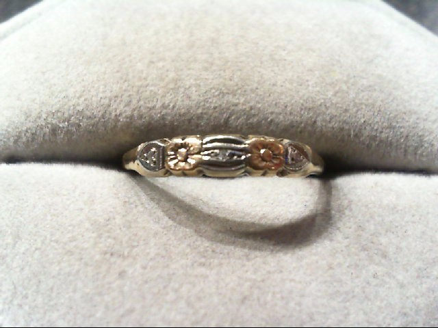 Lady's Gold Ring 14K 2 Tone Gold 1g
