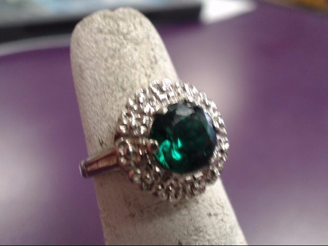 Green Stone Lady's Stone Ring 14K White Gold 4.27g Size:4