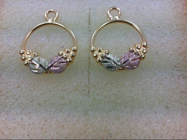Gold Earrings 10K Tri-color Gold 0.5g