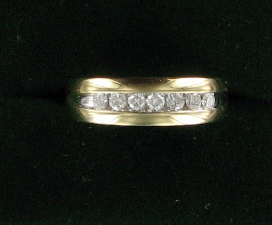 Gent's Gold-Diamond Wedding Band 7 Diamonds .70 Carat T.W. 10K Yellow Gold