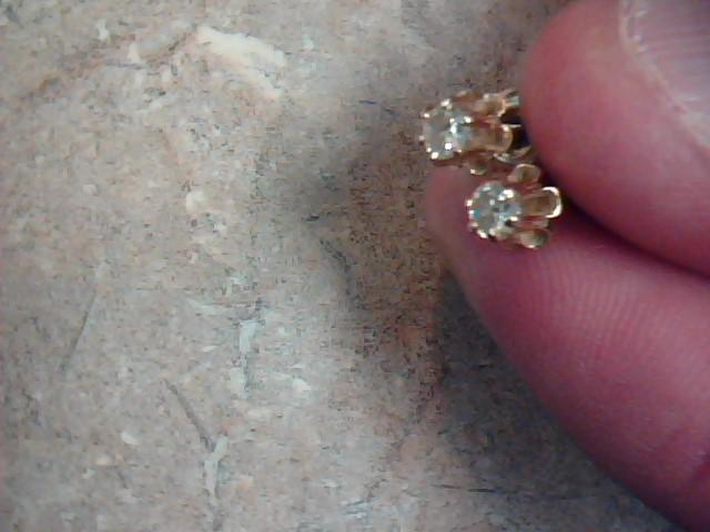 Gold-Diamond Earrings 2 Diamonds .30 Carat T.W. 14K Yellow Gold 1.2g