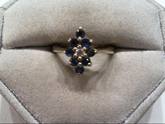 Sapphire Lady's Stone & Diamond Ring .04 CT. 14K White Gold 3.3g