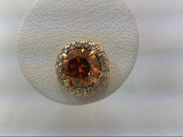 Gold-Diamond Earrings 2 Diamonds 1.80 Carat T.W. 18K Yellow Gold 3.45g