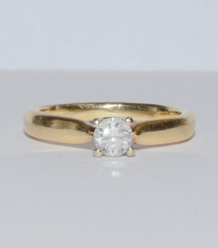14K Yellow Gold Cathedral Set Round Brilliant Diamond Engagement Ring Size 4.5