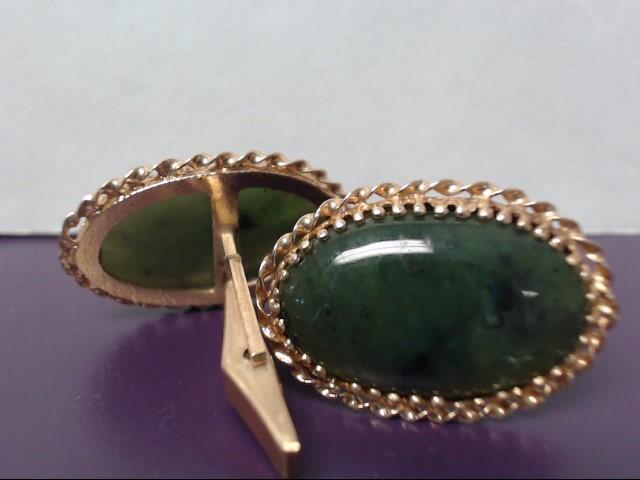 Jade Gold-Stone Cuff Links 14K Yellow Gold 14.31g