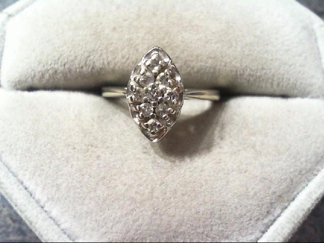 Lady's Diamond Cluster Ring 9 Diamonds .19 Carat T.W. 14K White Gold 2.8g