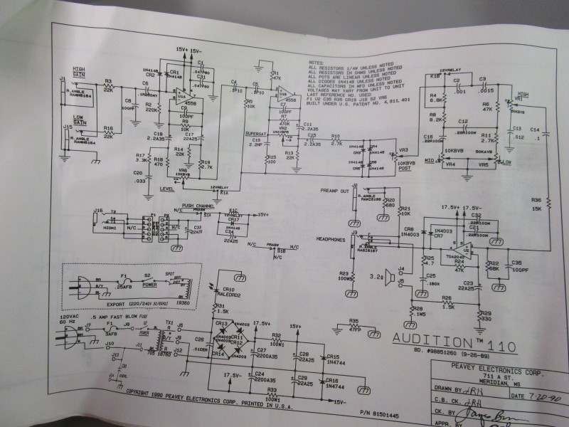 PEAVEY ELECTRONICS CORP. SCHEMATICS LOT CIRCA 1990, 18 PAGES TOTAL