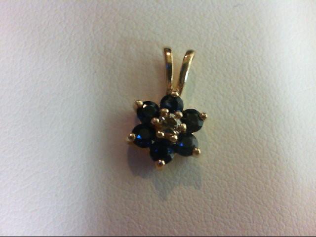 Sapphire Gold-Diamond & Stone Pendant 0.03 CT. 14K Yellow Gold 0.8g