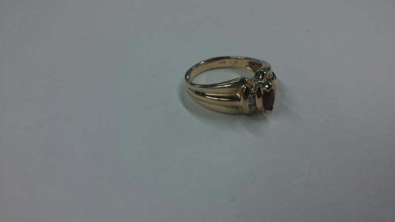 Synthetic Ruby Lady's Stone & Diamond Ring 6 Diamonds .06 Carat T.W.
