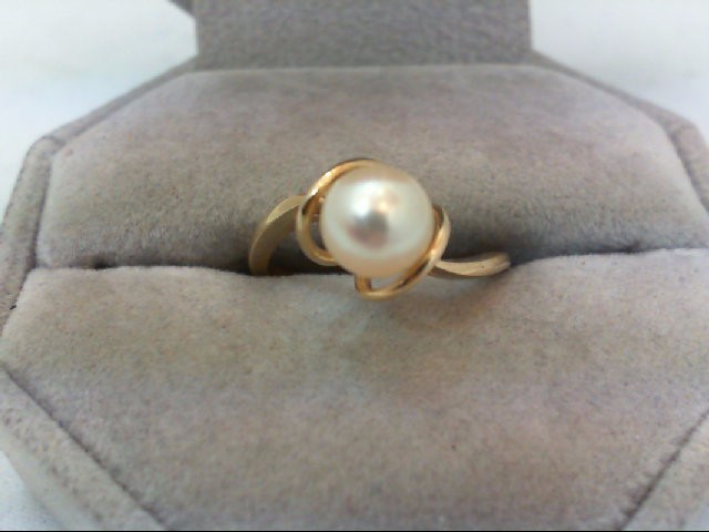 Pearl Lady's Stone Ring 14K Yellow Gold 2.3g