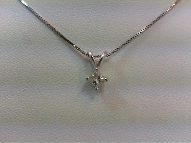 Gold-Diamond Solitaire Pendant .22 CT. 14K White Gold 1.6g