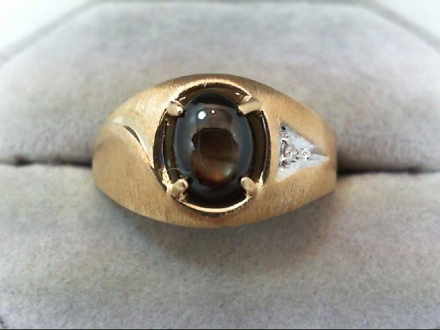 Black Star Sapphire Gent's Stone & Diamond Ring .01 CT. 10K Yellow Gold 4.8g