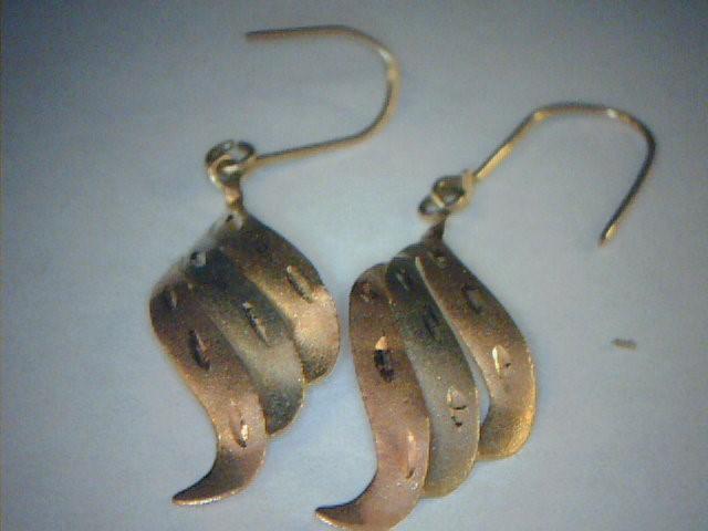 Gold Earrings 10K Tri-color Gold 0.3dwt