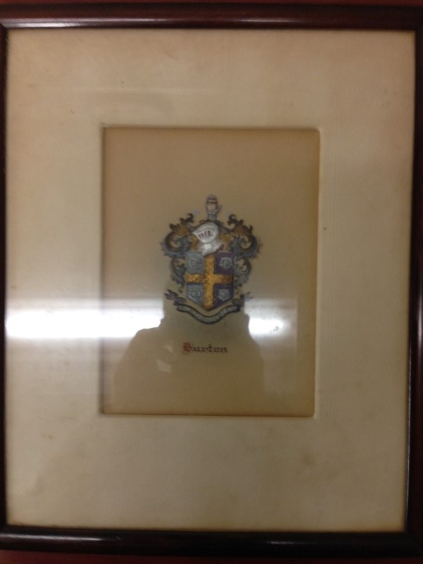 VINTAGE BAILEY BANKS AND BIDDLE COMPANY FRAMED COAT OF ARMS EARLY 1920'S