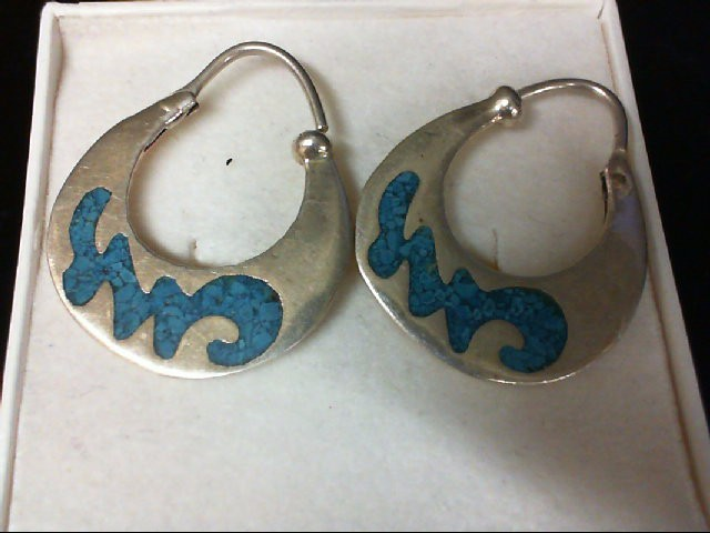 Turquoise Silver-Stone Earrings 925 Silver 3.2g