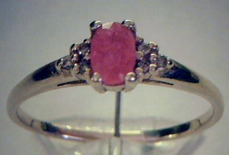 Ruby Lady's Stone & Diamond Ring 6 Diamonds .06 Carat T.W. 14K Yellow Gold