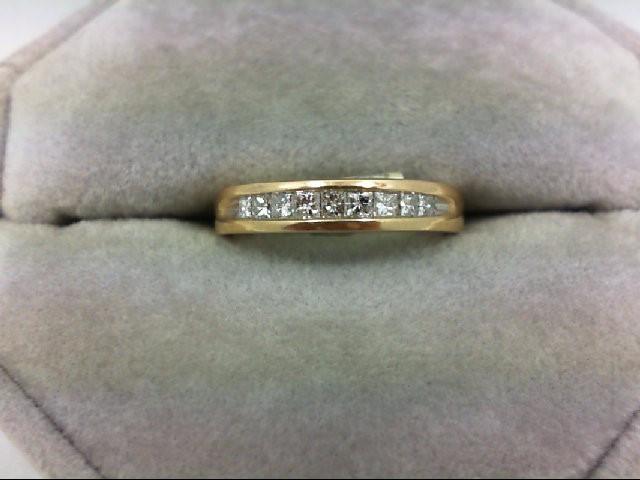 Lady's Diamond Wedding Band 9 Diamonds 0.45 Carat T.W. 14K Yellow Gold 3g Size:4