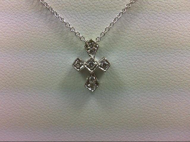 Gold-Multi-Diamond Pendant 7 Diamonds 0.11 Carat T.W. 18K White Gold 2.3g