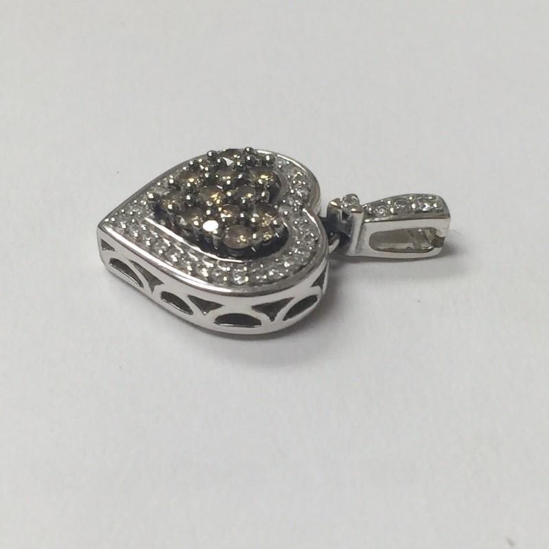 Gold-Multi-Diamond Pendant 48 Diamonds .93 Carat T.W. 14K White Gold 2.1dwt