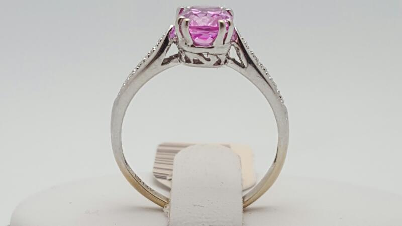 Lady's Pink Sapphire & Diamond Ring 2 Diamonds .02 Carat T.W.