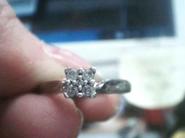 Lady's Gold-Diamond Anniversary Ring 5 Diamonds .17 Carat T.W. 10K White Gold