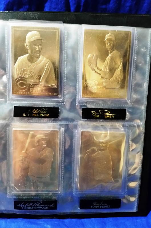 DANBURY MINT 22KT GOLD BASEBALL CARDS BINDER W/ 20 CARDS