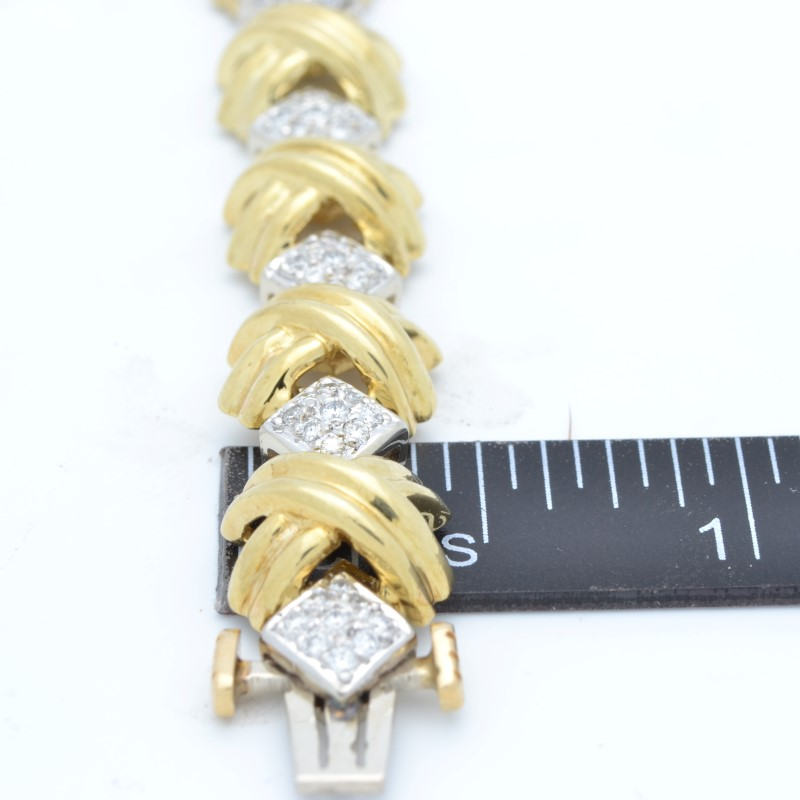 VINTAGE DIAMOND BRACELET REAL SOLID 18K GOLD TENNIS XO HEAVY 33.7g