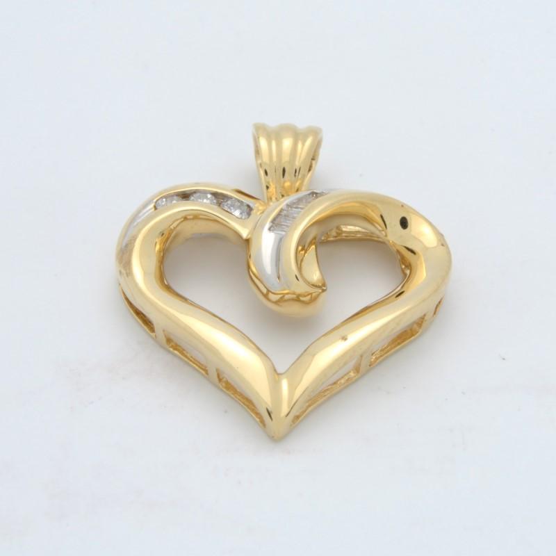 ESTATE DIAMOND HEART PENDANT CHARM SOLID 14K GOLD LOVE PROMISE FINE