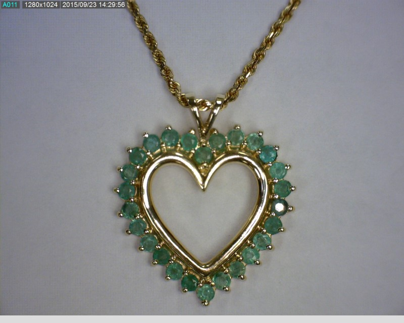 "16"" Emerald Stone Necklace 10K Yellow Gold 3.8dwt"