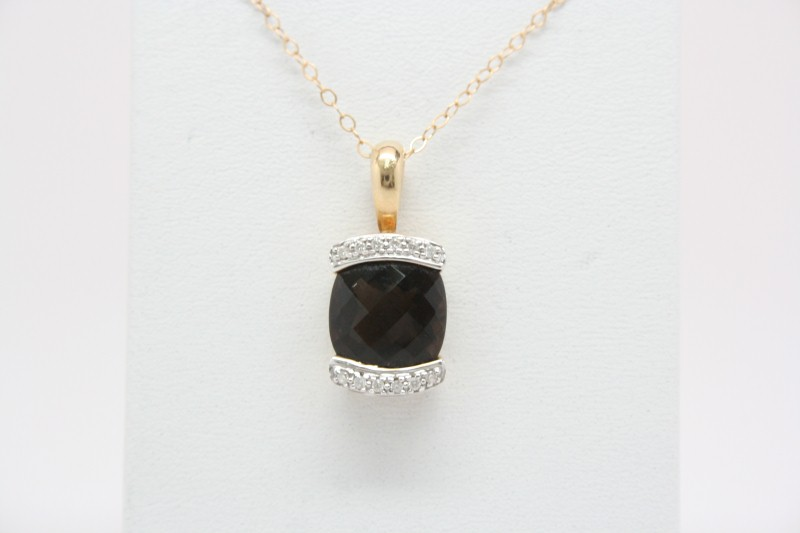SMOKY QUARTZ DIAMOND PENDANT 14K YG