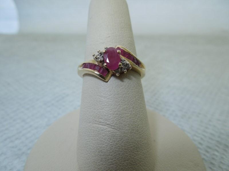 Synthetic Ruby Lady's Stone & Diamond Ring 8 Diamonds .040 Carat T.W.