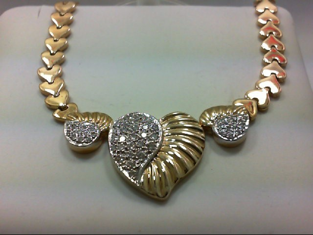 Diamond Necklace 49 Diamonds .98 Carat T.W. 14K Yellow Gold 32.25g