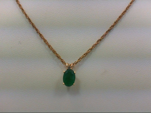 Emerald Gold-Diamond & Stone Pendant 0.01 CT. 14K Yellow Gold 2.1g