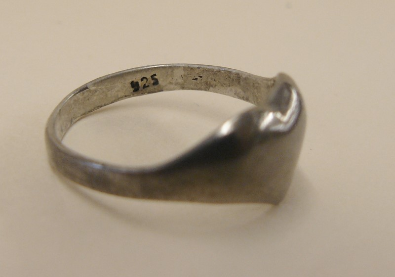Sterling .925 Freeform Heart Ring, Dark Finish