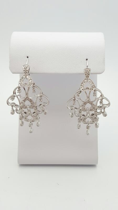 Gold-Diamond Earrings 58 Diamonds .58 Carat T.W. 14K White Gold 8.9g