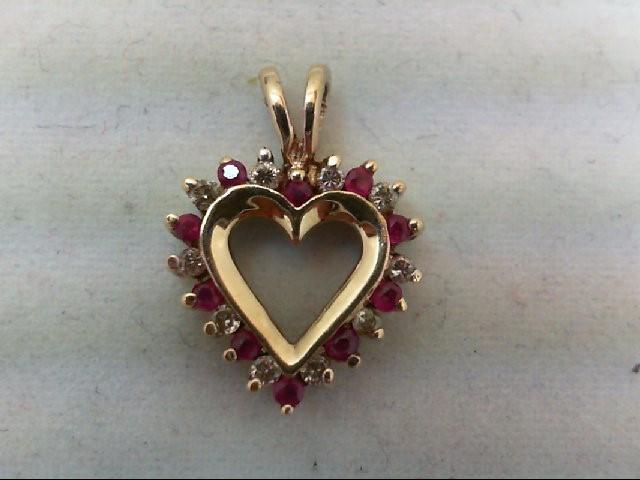 Ruby Gold-Diamond & Stone Pendant 10 Diamonds 0.1 Carat T.W. 14K Yellow Gold 1.4