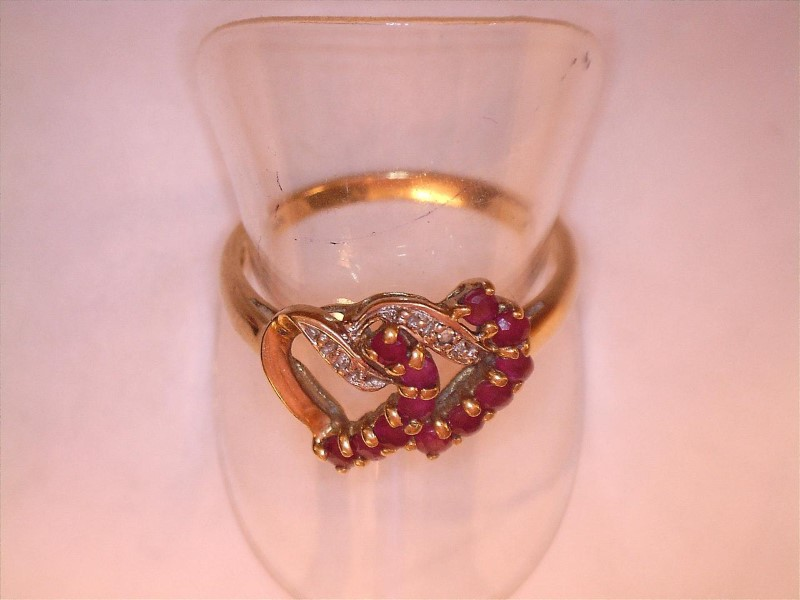 Ruby Lady's Stone & Diamond Ring 3 Diamonds .03 Carat T.W. 10K Yellow Gold