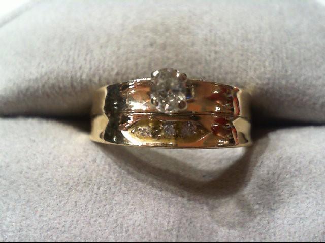 Lady's Diamond Wedding Set 4 Diamonds .23 Carat T.W. 14K Yellow Gold 3.6g