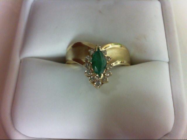 Emerald Lady's Stone & Diamond Ring 12 Diamonds 0.24 Carat T.W. 18K Yellow Gold