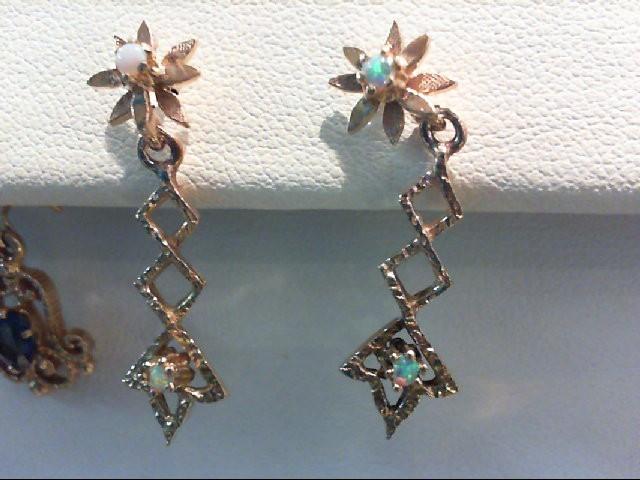 Opal Gold-Stone Earrings 14K Yellow Gold 2.4g