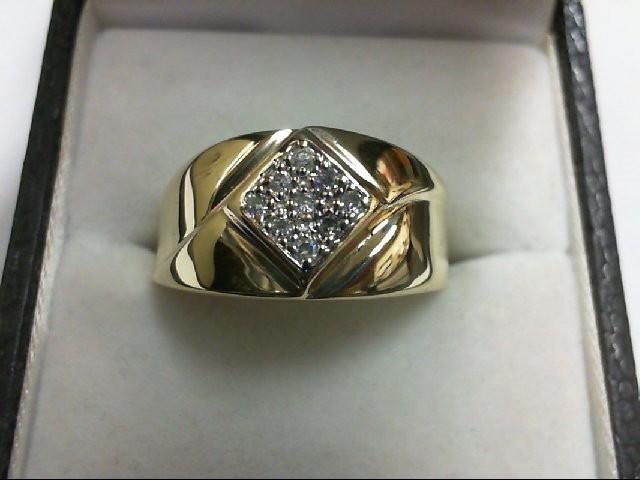 Gent's Diamond Cluster Ring 9 Diamonds 0.09 Carat T.W. 10K Yellow Gold 4.1g
