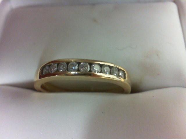 Lady's Diamond Wedding Band 9 Diamonds 0.45 Carat T.W. 14K Yellow Gold 3.6g Size