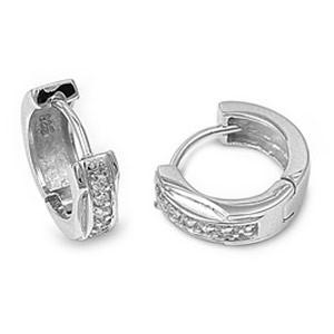 Silver Earrings 925 Silver 4.7g STERLING SILVER CLASSY HUGGIE HOOP EARRING