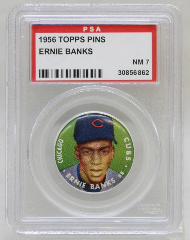 1956 Topps Pinns Ernie Banks Chicago Cubs PSA Rated NM 7