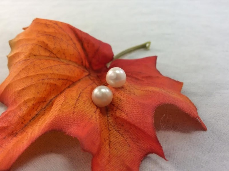 Synthetic Pearl Gold-Stone Earrings 14K Yellow Gold 1.58g