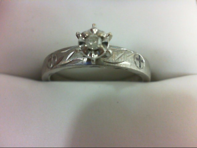 Lady's Silver-Diamond Ring 0.06 CT. 925 Silver 3.1g
