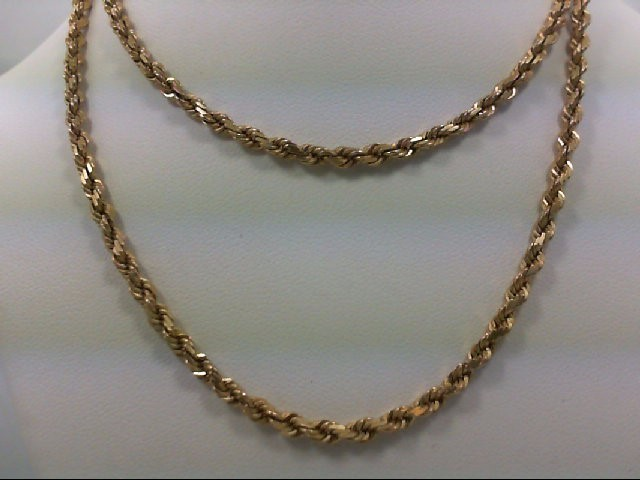 """22"""" Gold Rope Chain 14K Yellow Gold 16.8g"""