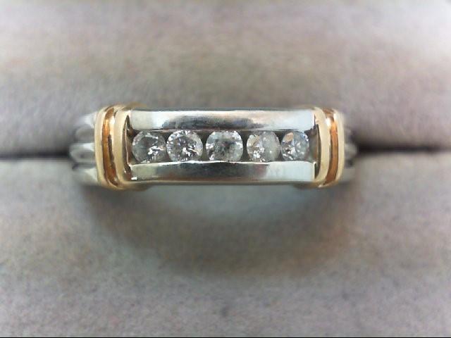 Lady's Diamond Wedding Band 5 Diamonds .25 Carat T.W. 14K 2 Tone Gold 4.4g