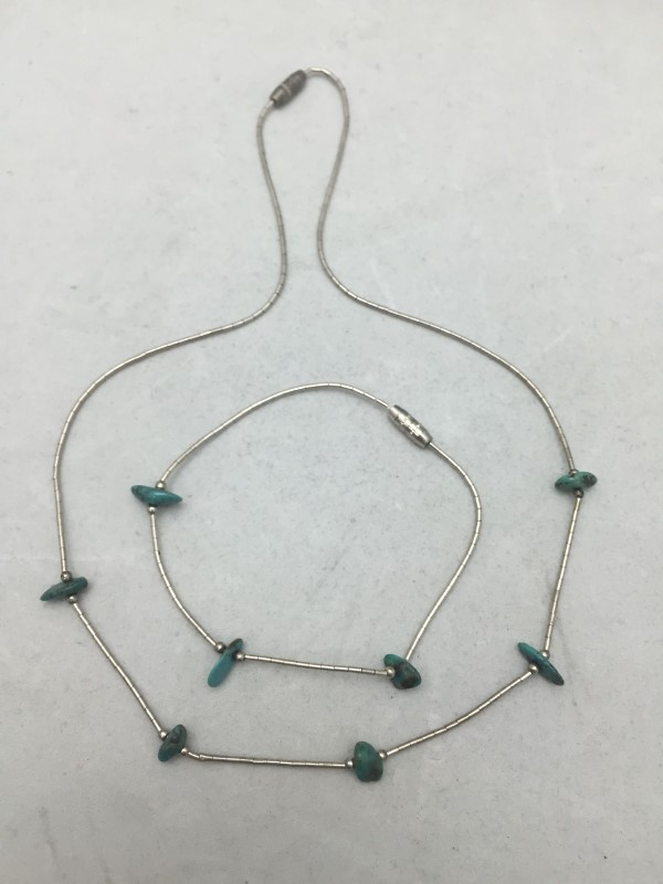 Vintage Turquoise Stone Necklace w/ Matching Bracelet Sterling Silver